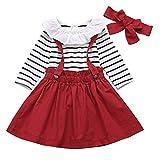 Borlai Lot de 3 tenues décontractées pour bébé fille avec barboteuse rayée Taille 0 à 24 m - Rouge - 12-24 mois
