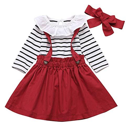 DaMohony Conjunto de ropa de bebé para niña, conjunto de ropa de manga larga a rayas mameluco de tirantes falda diadema 3 piezas para niña
