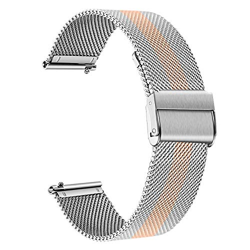 TRUMiRR Vervanging voor Fossil Womens Gen 4 Venture HR Strap, 18mm Mesh Geweven Roestvrij Staal Horloge Band Snelsluiting Strap Rose Gouden Armband voor Fossil Q Womens Gen 3 Venture DW 36mm