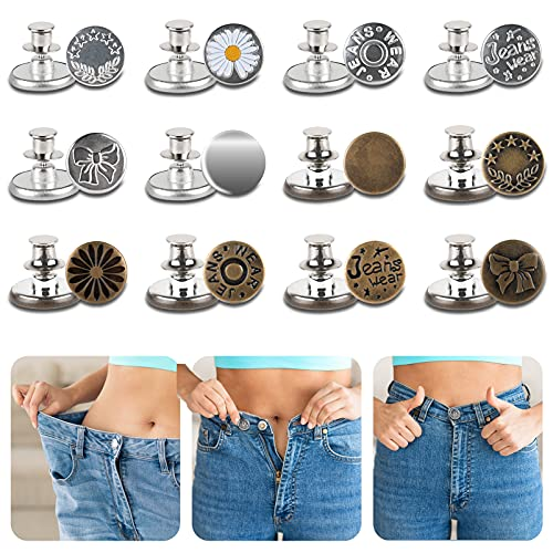 Jean Button Pins, 12 Set Adjustable Button Pins for Jeans, No Sew Buttons, Perfect Fit Instant Buttons, Jeans Replacement Button for Pants to Make Jeans Waist Smaller(17mm)