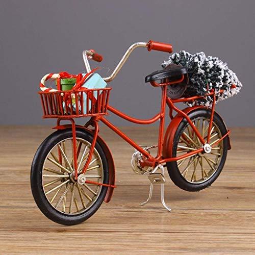 JXXDDQ Bicicleta Metal Modelo de Navidad de la bicicleta de hierro Artesanía presentes de cumpleaños Decoración figuras decorativas dormitorio Estantería (Color : Red)