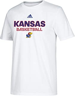 adidas Kansas Jayhawks NCAA Men's White Sideline Basketball Climalite Performance T-Shirt