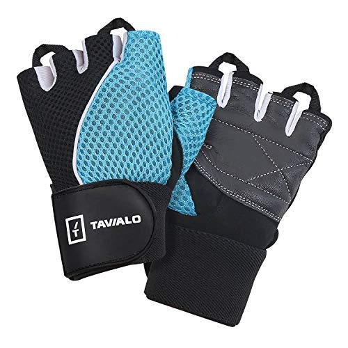 TAVIALO Guantes de Fitness para Mujer S (13-16 cm), Color Azul/Negro/Blanco, Guantes...
