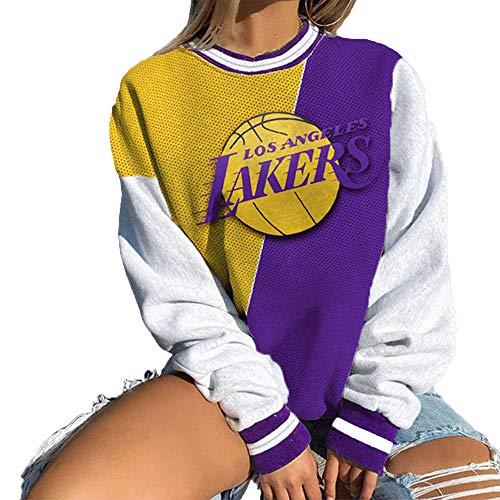 NBA Mujer Los Angeles Lakers Sudadera con Capucha, Jersey De Moda Ligero Jersey De Baloncesto Suéter De Manga Larga Camisetas Deportivas Sueltas,Púrpura,S