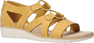 Easy Street Women's Wedge Sandal, Yellow, 6 Wide
