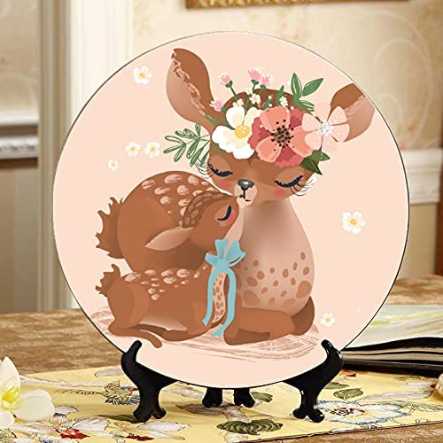 Crowned Sika Deer Max 75% OFF Plate Decor Home Plates Wob Selling Decorative Ceramic