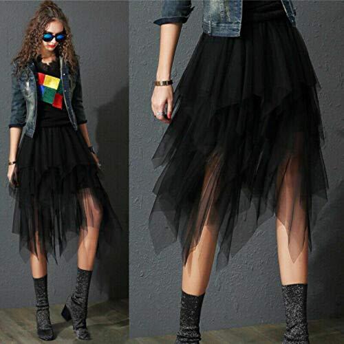 iSayhong Falda de tul con tutú para mujer, elástica, cintura alta, falda de malla, maxiSkirt para bodas, fiestas, cócteles, graduación