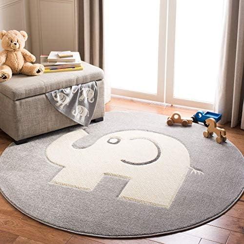 Safavieh Carousel Kids Collection CRK165B Elephant Nursery Playroom Area Rug 4 x 4 Round Grey product image