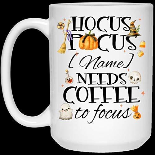 Divertida taza de café de Navidad para Halloween, regalo de 11 oz, personalizado, Hocus Pocus, necesita café para enfocarse, taza de café, botella de agua de cerveza Stein