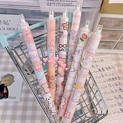 Bolígrafo de color 6 bolígrafos de gel Lindo Oso de dibujos animados Tinta negra Presione el bolígrafo del gel para escribir y firmar kawaii papelería Securamente Oficina Suministros Gel Bolígrafos