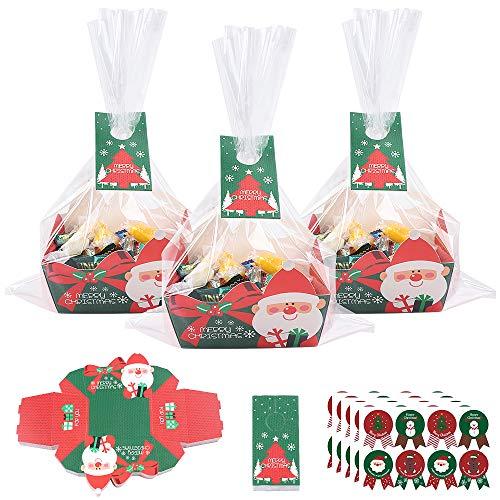 Bolsas de regalo transparentes navideñas,50 bolsas de celofán navideñas con tarjeta de feliz Navidad con 5 hojas de pegatinas navideñas y 50 etiquetas navideñas para dulces para fiestas navideñas