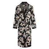 CHJJHH Albornoces Bata para Hombre Camisón De Manga Larga Kimono Bata De Baño Pijama con Estampado De Satén Sedoso Ropa De Dormir Vestido Informal para El Hogar E XXL