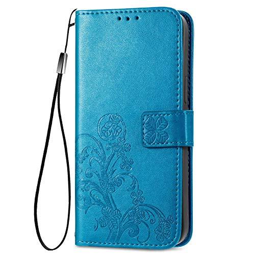 GOKEN Hülle für Xiaomi Poco X3 Pro/Poco X3 NFC, Schutzhülle Hülle Cover TPU/PU Leder Flip Brieftasche Handytasche mit Kartenfächer und Standfunktion und Muster, Klapp Handyhülle, Blau