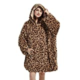 Viviland Oversized Hoodie Fuzzy Blanket Sweatshirt,Super Soft Warm Comfortable Giant Pullover with Large Front Pocket, Gifts for Women Men, Cheetah Print Brown