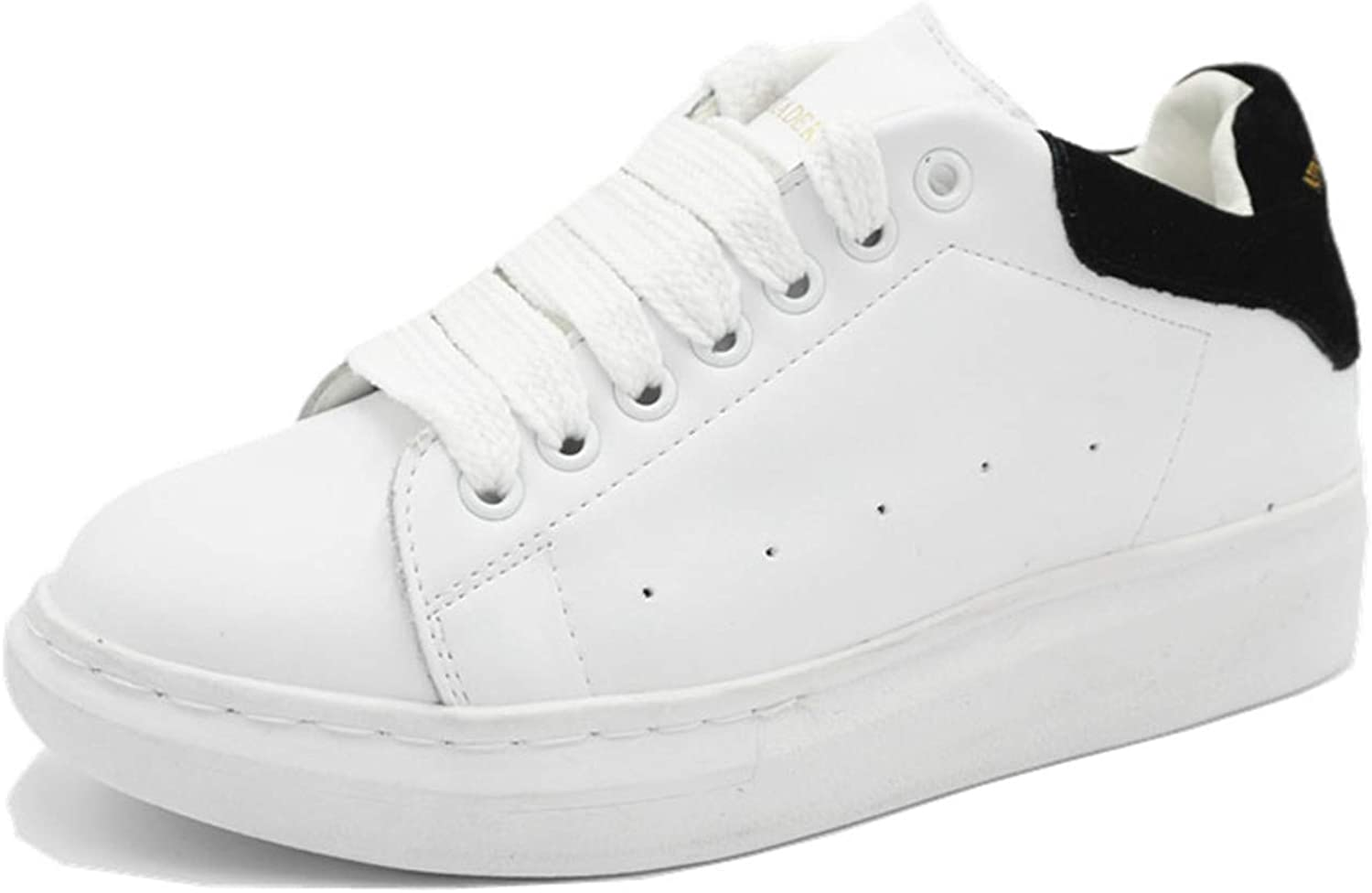 Genuine Leather Women's Platform White Sneakers Lace Up shoes Casual Walking Footwear Black 8
