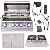Lion Premium Grills 32-Inch Natural Gas Grill L75000 and Double Side Burner with Lion Door and Drawer Combination Unit with 5 in 1 BBQ Tool Set Best of Backyard Gourmet Package Deal
