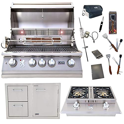 Lion Premium Grills 32-Inch Liquid Propane Grill L75000 and Double Side Burner with Lion Door and Drawer Combination Unit with 5 in 1 BBQ Tool Set Best of Backyard Gourmet Package Deal Grills Propane
