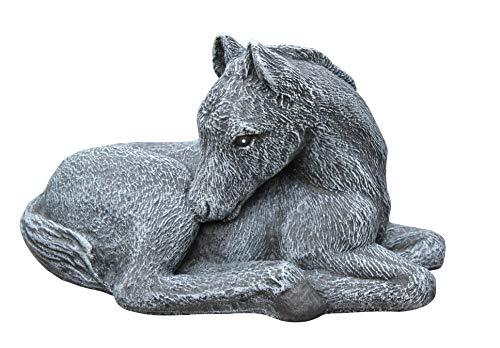 Tiefes Kunsthandwerk Steinfigur Pferd Fohlen - Schiefergrau, Figur, Deko, Garten