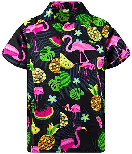 Funky Camisa Hawaiana, Manga Corta, Flamingo Melon, Negro, S