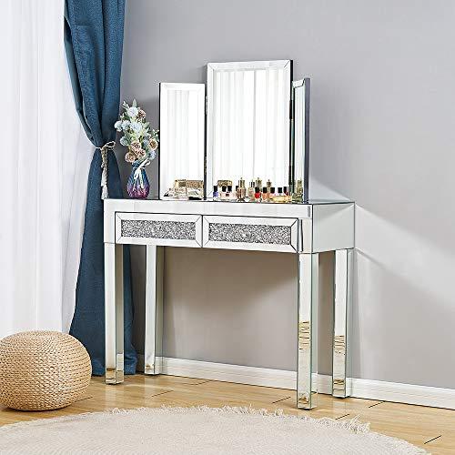 Juego de tocador de espejo con cajón de cristal y espejo biselado, Table+Mirror