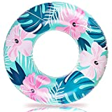 BUYMAX Inflatable Pool Floats, 35.4 inch Swimming Ring, Floating Ring with Tropical Leaves, Medium-Sized Swim Tube for Kids and Adults, Pool Inner Tubes for Pool, Beach, Party and Gift (Blue)