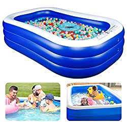 """Inflatable Pool Kiddie Pool, 94"""" x 57"""" x 22"""" Family Swim Center Rectangular Swimming Pools for Kids, Adults, Babies, Toddlers, Outdoor, Backyard, Garden, Summer Pool Party"""