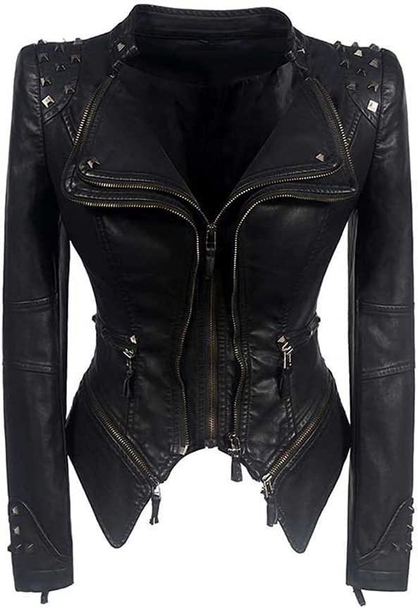 CDQYA Fashion Women Smooth Motorcycle Faux Leather Jackets Ladies Long Sleeve Autumn Winter Biker Streetwear Black Coat (Color : Black, Size : L Code)