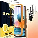 Uniqueme [2+2 pack] Schutzfolie Kompatibel mit Xiaomi Redmi Note 10 Pro/Pro Max Panzerglas & Kamera Schutzglas, [Anti-Kratzer][9H Festigkeit] HD Klar Folie Glas Bildschirmschutz mit Installationswerkzeug