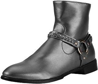 LUXDAMAI Botte Western Cowboy Unisexe Bottines Courtes Fermeture éclair Latérale Grande Taille Bout Rond Chevalier Bottes ...