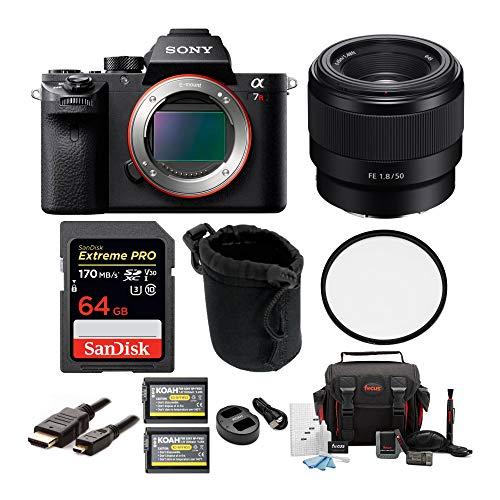 Sony Alpha a7RII Mirrorless Camera Body Bundle FE 50mm f/1.8 Lens, 49mm Lens Filter and Koah Battery Bundle (8 Items)