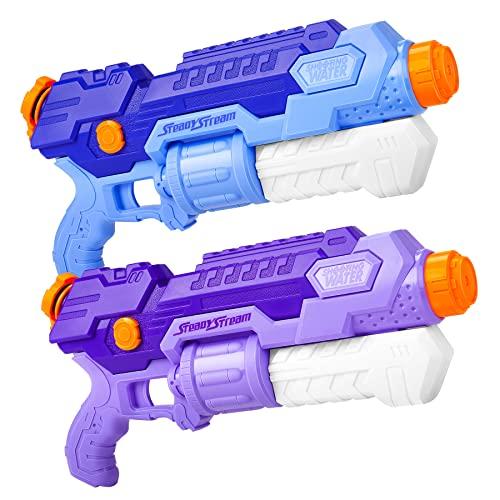 lenbest Wasserpistole, 2 Pack Wasser Blaster, 10 Meter Reichweite, Super Squirt Wasserpistolen - Sommer Partys, Pool Garten Strand, für Kinder Jungen Mädchen (1000ml)