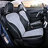 EKR Custom Fit Full Set Car Seat Covers for Select Subaru Forester 2014 2015 2016 2017 2018 - Leatherette (Black/Gray)