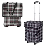 Falytemow Foldable Shopping Cart with Wheels Oxford Trolley Bag for Groceries