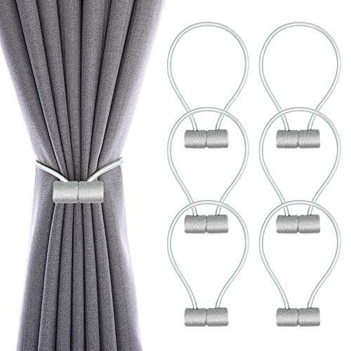 6 Pack Upgraded Magnetic Curtain Tiebacks Strong and Durable Window Decorative Weaving Rope 17 Inch Long Convenient Draperies Holdback Fit for Home Bathroom Office Decoration Use(Grey)