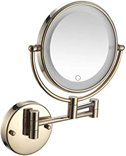 Makeup Mirror with LED Light, 5X Magnifying Vanity Mirror Wall Mount Beauty Mirror Bathroom Mirror Cosmetic Mirror Shaving in Bedroom Powered by Plug,Gold