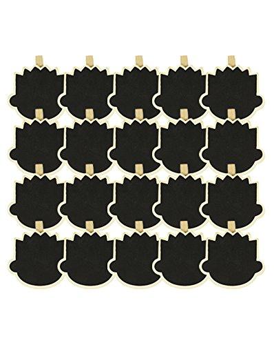 COM-FOUR® mini houten plank voor kruiden en planten leisteenklem verschillende vormen (gezicht - 20 stuks)