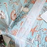 Brandream Queen Size Sheets Set Deep Pockets 18 Inch Egyptian Cotton Nautical Beach Bedding Sets Coastal Seashells Coral Bedroom Set