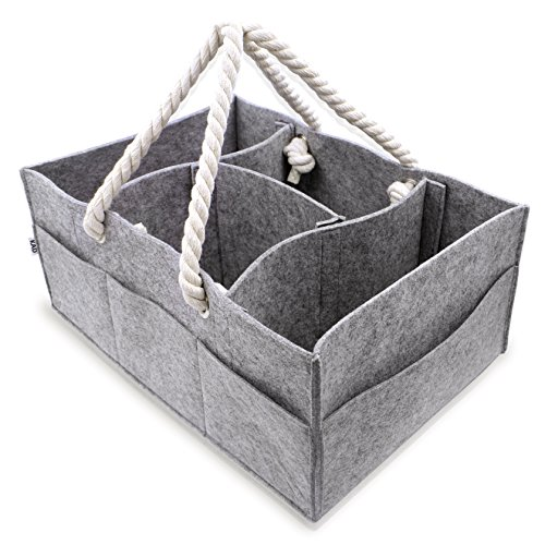 Baby Diaper Caddy Organizer - Large Portable Car Basket for Toys Wipes Diapers - Newborn Storage Bin Changing Table - Baby Shower Gift for Boy Girl - Baby Registry Must Haves - Nursery Tote Bag