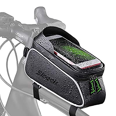 Sireck Bicycle Bag Waterproof Mountain Road Bike Top Tube Front Frame Bag Cycling Phone Holder/Mount with Touch Screen Sun Visor Phone Case for 6.5 inch Cellphone iPhone xs max 7 8 Plus