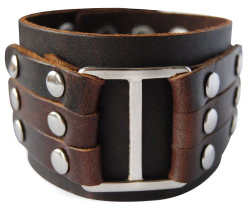 Cinturino in pelle largo axy iggle LAB1 -10! Vera Cinturino in pelle aighina ying-yang! Surfer Bracciale Uomo, colore: Braun/ Brown