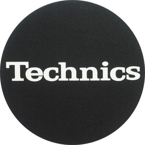 Technics - Alfombrillas para DJ (2 unidades), color negro con el logo de Technics en blanco