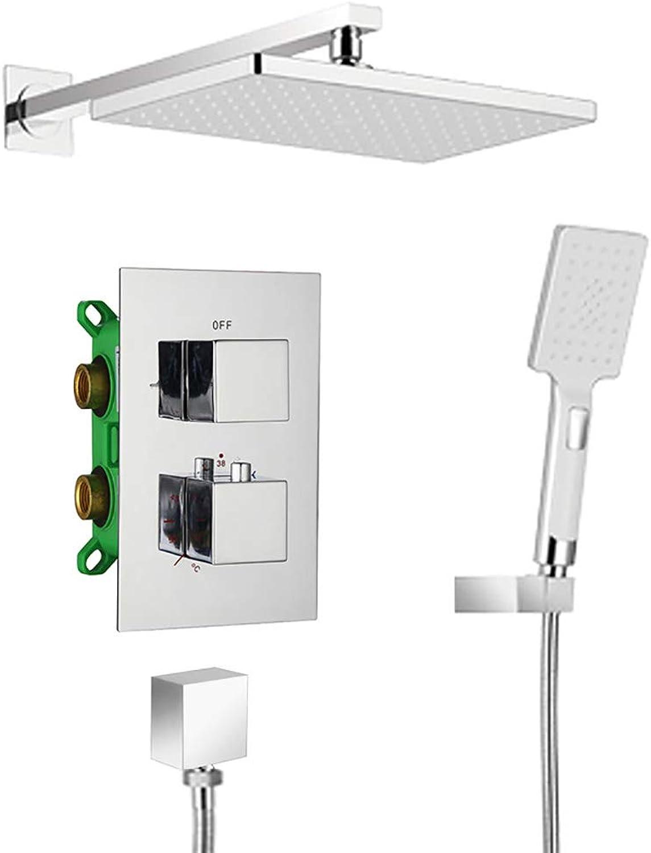 HUIJIN1 Badewannen- und Duschsysteme, Wand-Ganzkupfer verchromt Intelligente Konstanttemperaturwasserfall-Duschwand Badezimmer-Duschsystem mit Wannenauslauf