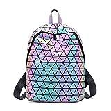 Zaino geometrico per donna Unisex, Daypack olografico Lumikay Lingge Borsa a tracolla Iridescente Zaino moda Flash Riflettente, Luminoso