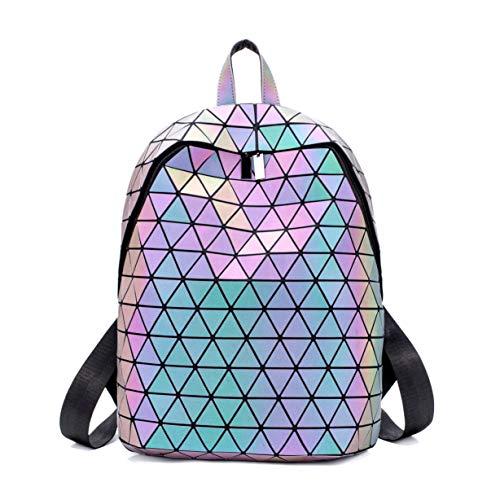 Geometrischer Rucksack Damen Leuchtend Holographic Taschen Lumikay Geldbörse und Handtasche Farbwechse Daypack Taschen NO.3
