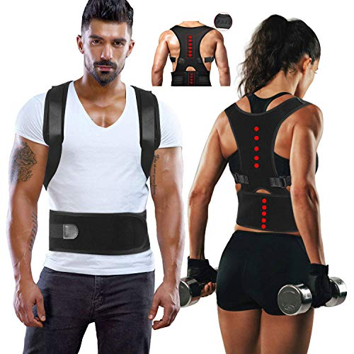 Magnetic Back Support for Posture Corrector with 10 Magnets and Adjustable Straps and Breathable Mesh Panels (Black, L)