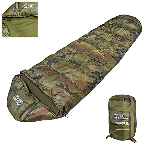 Kefi Outdoors Unisex Adult's Nylon Multicolor Army Sleeping Bag (Camo0)