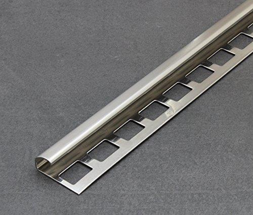 Fliesenschiene, Fliesenprofil, Rundkantenprofil, Edelstahl (V2A) gebürstet, Länge 2,50 m 11 mm Höhe 5 Stück Setpreis