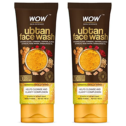 WOW Skin Science Ubtan Face Wash with Chickpea Flour, Turmeric, Saffron, Almond Extract, Rose Water & Sandalwood Oil – No Sulphate, Parabens, Silicones & Color – Pack of 2 – Net Vol 200mL