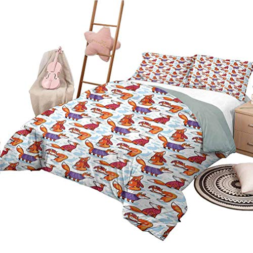 Nomorer Quilt Bedding Set Full Size Fox Bedding Bag Animals in Winter Sweaters
