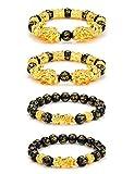 Udalyn4 Pcs Feng Shui Black Obsidian Wealth Bracelet for Men Women Good Luck...